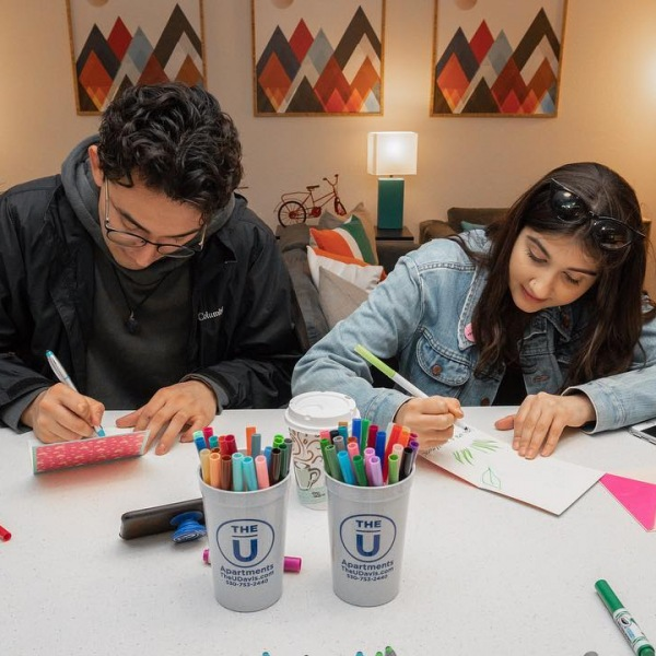 #SHARETHELOVE  @ucdavis students making a card for hospitalized children.  Show your support and come down to our model apartment in the clubhouse to make a card!
