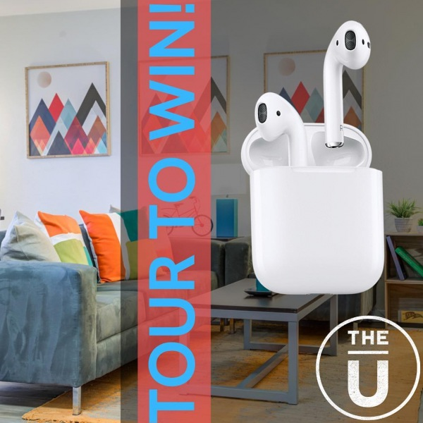 Come tour The U Apartments today for a chance to win one of our deluxe prizes. We will be raffling off a set of AirPods and you will need to tour to enter. Bring your future roommates along as well. For more more property lifestyle content, follow us on Instagram. #withuinmind #Ustilllooking #nouswithoutu