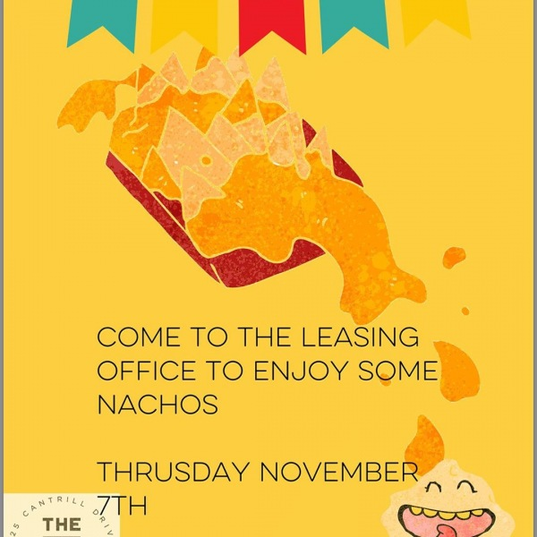 NACHOS!!! JOIN US NOVEMBER 7th BETWEEN 3pm-5pm!! Come get some nachos and chips!